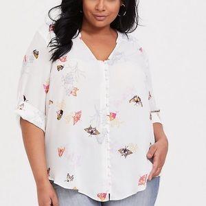 Cute Torrid Butterfly Button Down Shirt